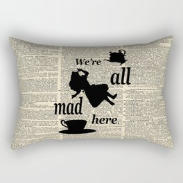We're All Mad Here - Alice In Wonderland - Old Dictionary Page Rectangular Pillow