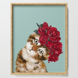 Baby Cat with Red Rose Crown Serving Tray