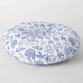 Blue Seashell Print Floor Pillow