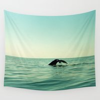 the whale Wall Tapestries featuring Whale by Julia Aufschnaiter