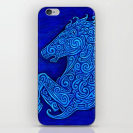 Blue Celtic Horse Abstract Spirals iPhone Skin