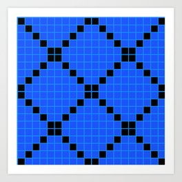 Blue and Black Grid Crosstile Art Print