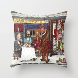 Fine Dining on the Subway Throw Pillow