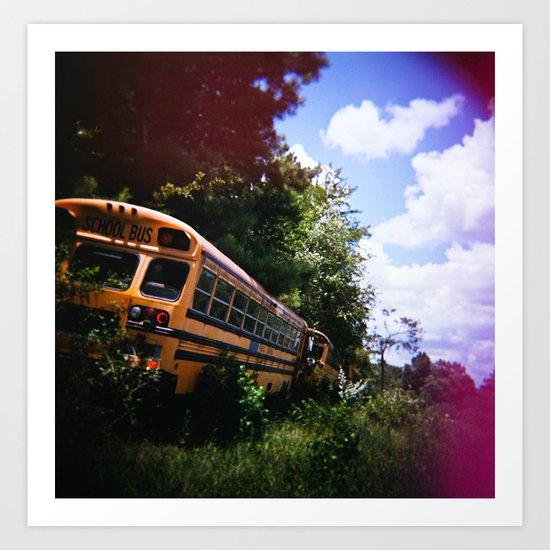 School Bus Graveyard Art Print