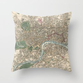 Vintage London Map - 1853 Throw Pillow