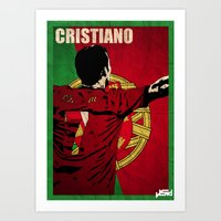 ronaldo Art Prints featuring Cristiano Ronaldo by John Sideris