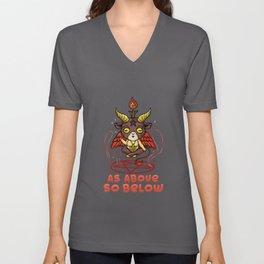 As Above So Below - Cute Satanic Baphomet T-Shirt Unisex V-Neck