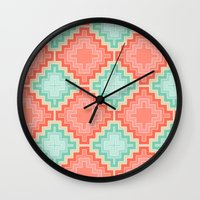 kilim Wall Clocks featuring coral mint kilim by musings