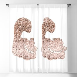 Sparkling rose gold Cheshire Cat Blackout Curtain
