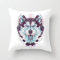 husky Throw Pillows featuring husky by yoaz