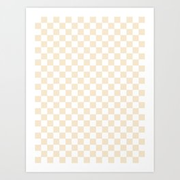 Small Checkered - White and Champagne Orange Art Print