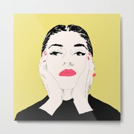 Pop Maria Callas - Yellow Metal Print