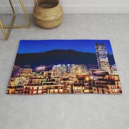 Blue Twilight Sky - Shangri La Hotel and Vancouver Grouse Mountain British Columbia Canada Travel Rug