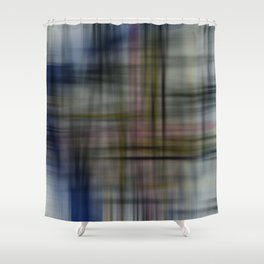 Deconstructed Abstract Scottish Plaid Pattern Shower Curtain