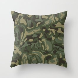 Camouflage pattern with CATS Throw Pillow