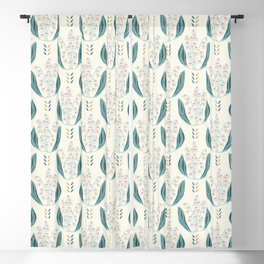 Hand drawn lily of the valley floral damask illustration. Blackout Curtain