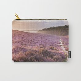 II - Path through blooming heather at sunrise, Posbank, The Netherlands Carry-All Pouch