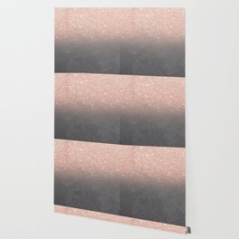 Rose gold glitter ombre grey cement concrete Wallpaper