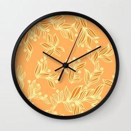 Orange Floral Pattern Wall Clock