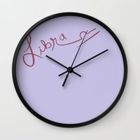 libra Wall Clocks featuring Libra by LindsayMichelle