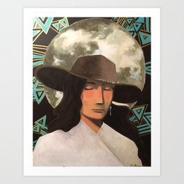 Portrait of A Southwestern Traveler with The Moon & Geometric Shapes In The Background Art Print
