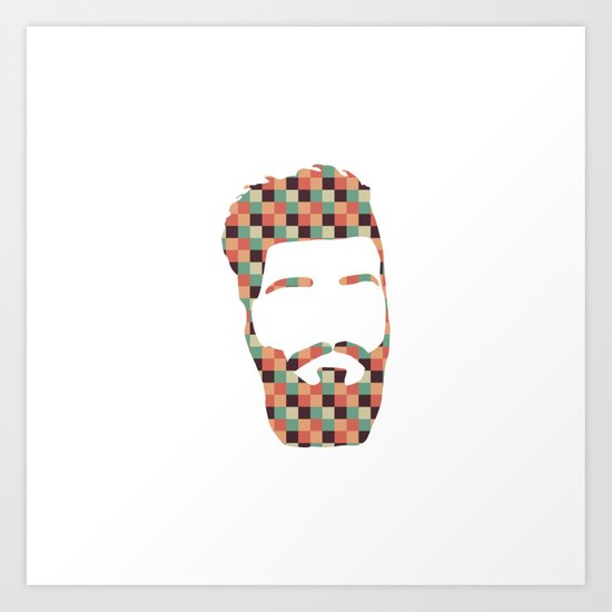 Hipster beard Art Print