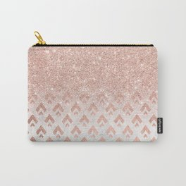 Faux rose gold glitter ombre rose gold foil triangles chevron geometric on white marble Carry-All Pouch