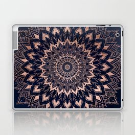 Boho rose gold floral mandala on navy blue watercolor Laptop & iPad Skin