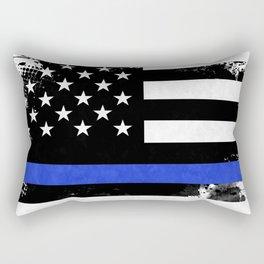 Distressed Thin Blue Line American Flag Rectangular Pillow