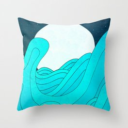 The Moon and the Sea Throw Pillow