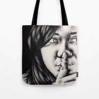 silent Tote Bags featuring silent by dorilozada