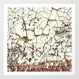 Cracked Paint White Textured Abstract Art Print