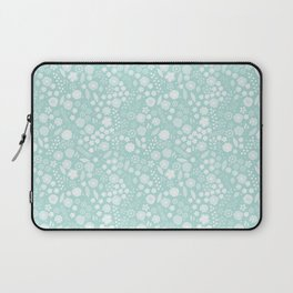 Vintage bohemian pastel green white flowers illustration Laptop Sleeve