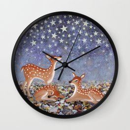 whitetail fawns under the stars Wall Clock