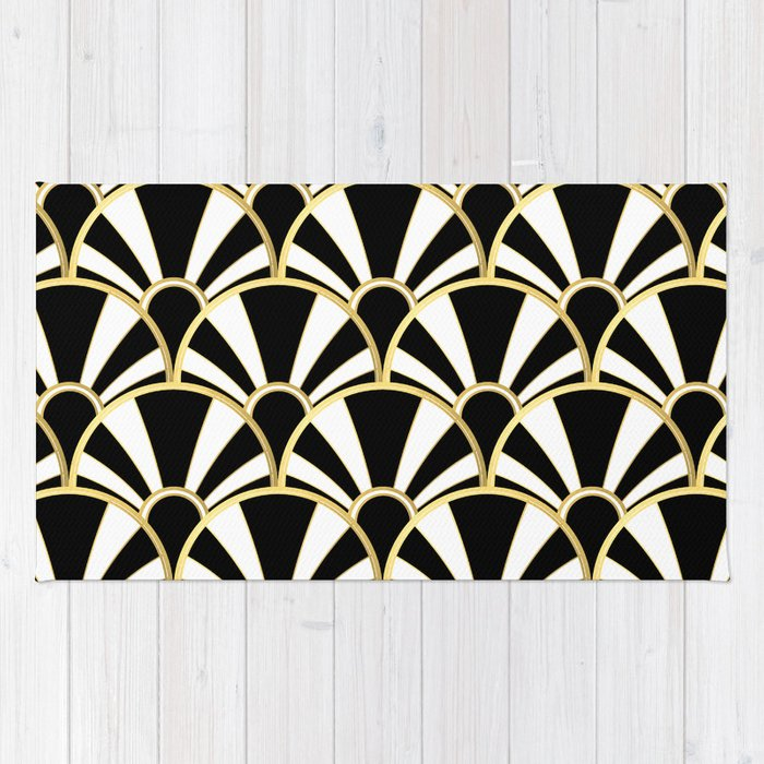 Black White And Gold Clic Art Deco Fan Pattern Rug