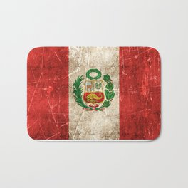 Vintage Aged and Scratched Peruvian Flag Bath Mat