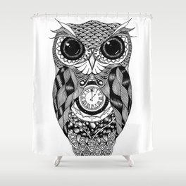 Owl of Time Shower Curtain
