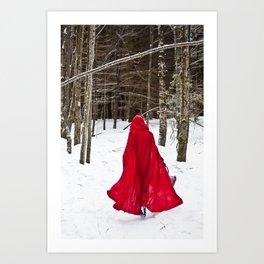 Little Red Riding Hood Runs Through The Woods In Winter Art Print