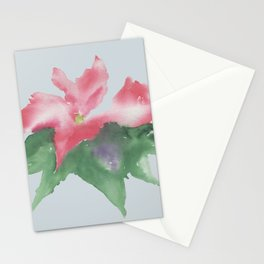 Red flower watercolor Stationery Cards