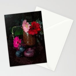 Still life with figs, onions and gerberas Stationery Cards
