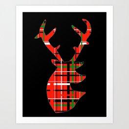 Plaid Xmas Deer Art Print