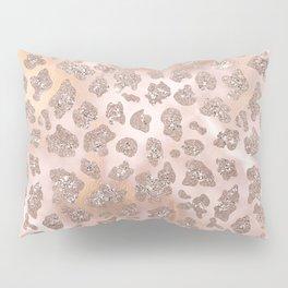 Rosegold Blush Leopard Glitter   Pillow Sham