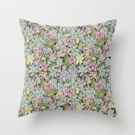 Succulent Pastel Throw Pillow