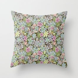 Succulent Pastel Throw Pillow