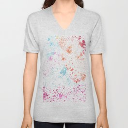 Hand painted pink teal orange watercolor paint splatters Unisex V-Neck