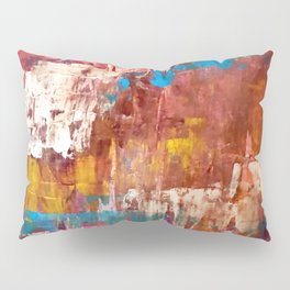 Desert Sun [5]: A bright, bold, colorful abstract piece in warm gold, red, yellow, purple and blue Pillow Sham