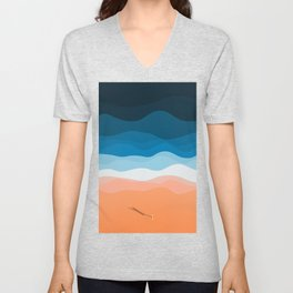 Lone Surfer On The Beach Unisex V-Neck