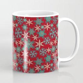 Red blue abstract Christmas decor . Snowflakes . Coffee Mug
