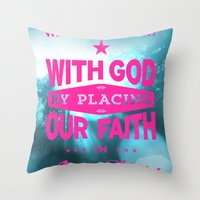 bible verses Throw Pillows featuring Typographic Motivational Bible Verses - Romans 3:22 by The Wooden Tree