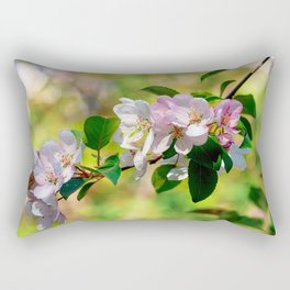 Cluster of pink crabapple flowers. Blooming beauty Rectangular Pillow